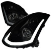 2003-2007 Infiniti G35 Coupe LED Bar Projector Headlights w/ Sequential Turn Signals (Black Housing/Smoke Lens)