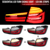 2012-2018 BMW 325i/328i/F30 4DR LED Tail Lights w/ Sequential Turn Signal (Black Housing/Clear Lens)