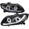 2012-2013 Honda Civic Coupe/ 2012-2015 Civic Sedan Dual Halo Projector Headlights w/ LED Bar (Matte Black Housing/Clear Lens)