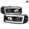 2000-2006 GMC Sierra/Denali/Yukon LED Strip Projector Headlights (Glossy Black Housing/Clear Lens)