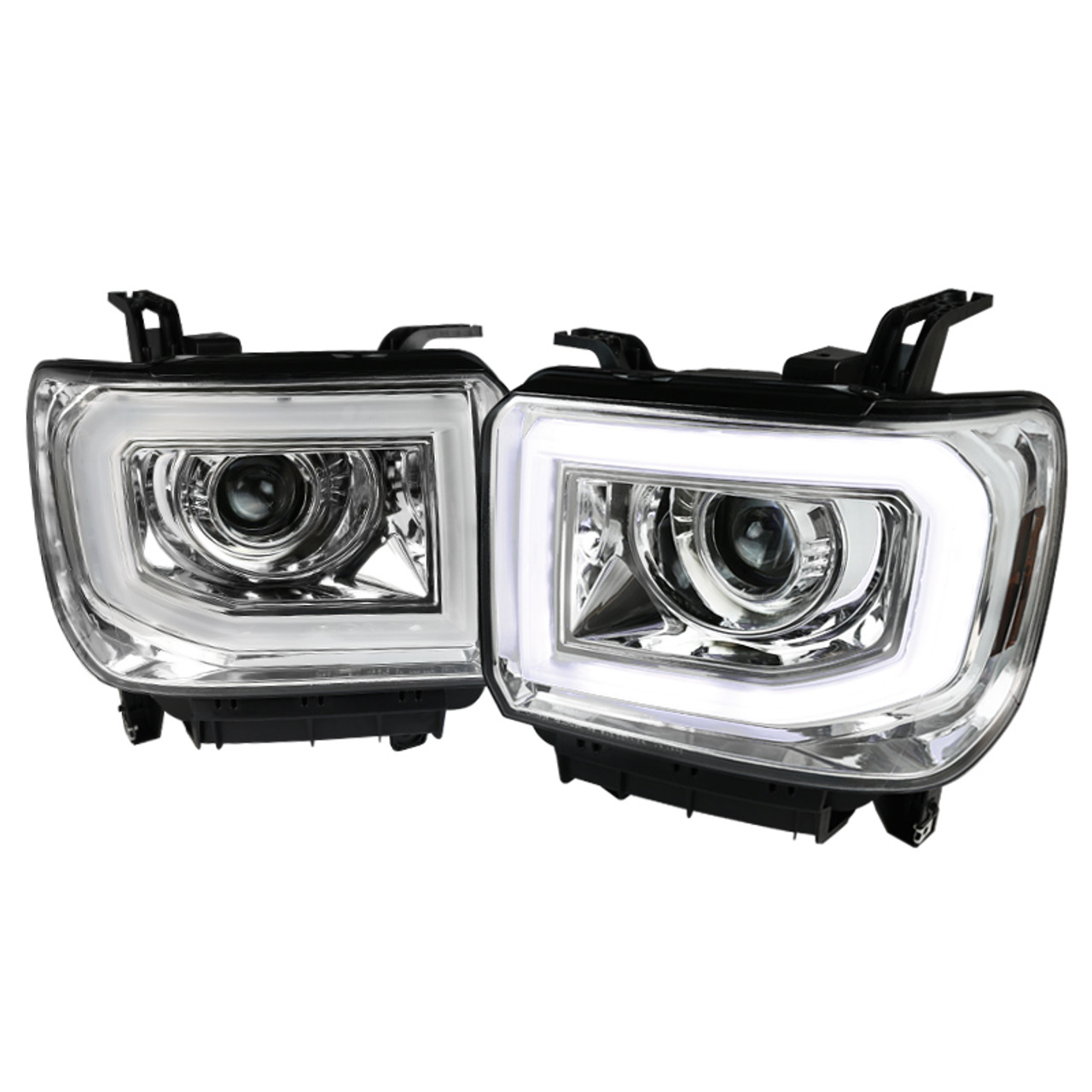 2014 2019 Gmc Sierra 1500 2500hd 3500hd Led Drl Projector Headlight W Led Turn Signal Matte Black Housing Clear Lens K2 Motor