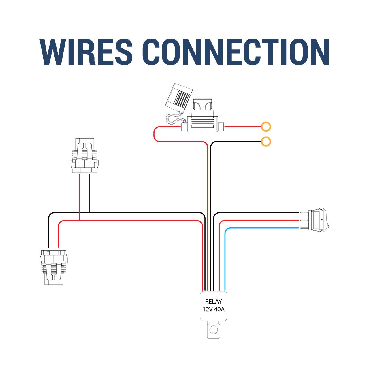 [SCHEMATICS_49CH]  9' 14 Gauge Fog Lights Wiring Harness Kit with 2 Connectors - K2 Motor | K2 Motors 12v 40 Amp Relay Wiring Diagram |  | K2 Motor