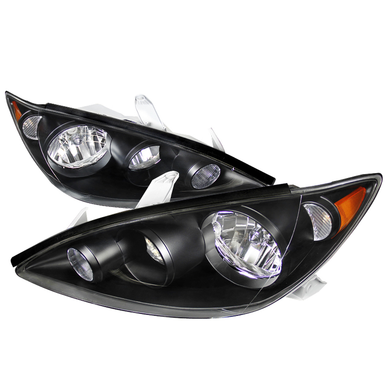 For 2005-2006 Toyota Camry Black Housing Clear Reflector Clear Lens Headlights