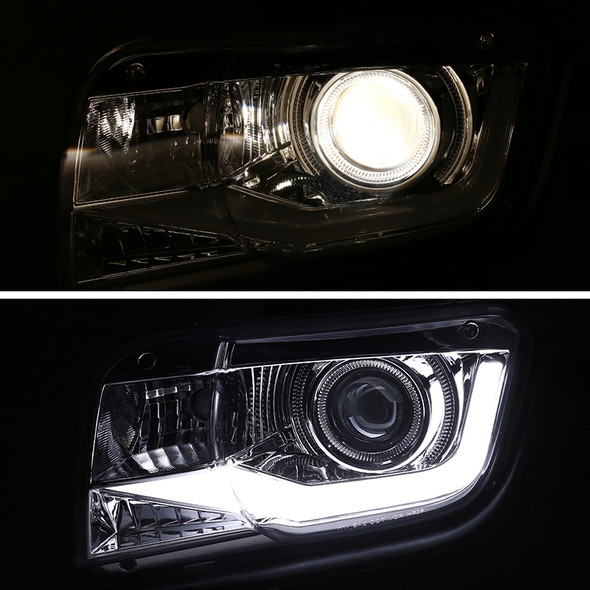 2010-2013 Chevrolet Camaro Projector Headlights w/ LED DRL & H11 Bulbs (Chrome Housing/Clear Lens)