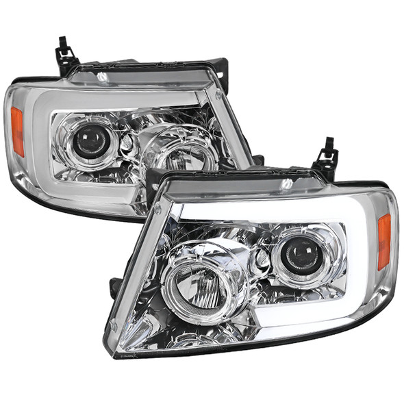 2004-2008 Ford F-150 LED Light Bar Switchback Sequential Projector Headlights (Chrome Housing/Clear Lens)