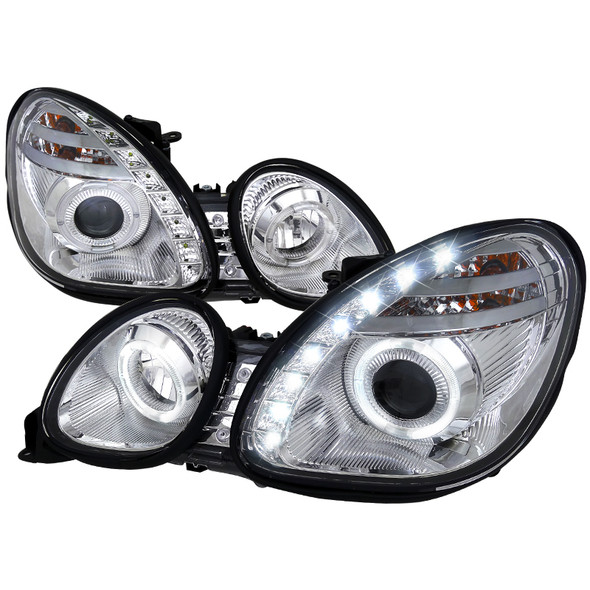 1998-2005 Lexus GS300/400 Halo Rim Projector Headlights w/ SMD LED DRL (Chrome Housing/Clear Lens)
