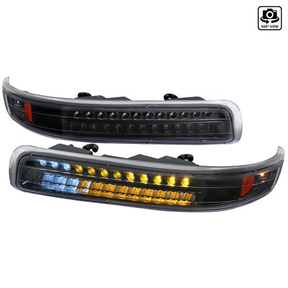 1999-2002 Chevrolet Silverado / 2000-2006 Chevrolet Tahoe & Suburban LED Bumper Lights (Matte Black Housing/Clear Lens)