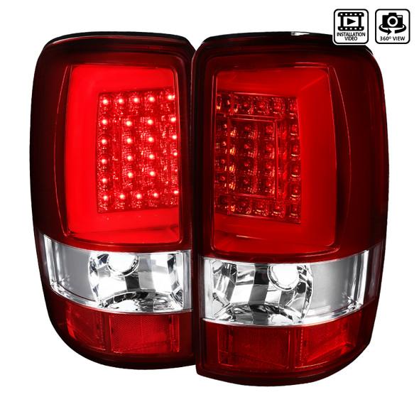2000-2006 Chevrolet GMC Suburban/Tahoe/Yukon/Yukon XL Denali LED Tail Lights (Chrome Housing/Red Lens)