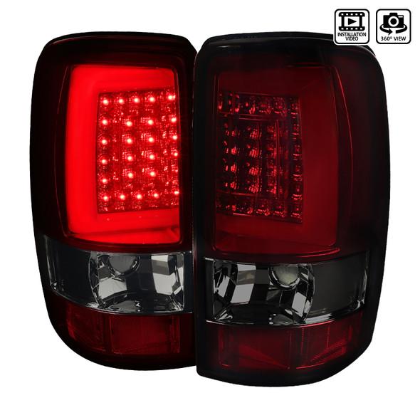 2000-2006 Chevrolet GMC Suburban/Tahoe/Yukon/Yukon XL Denali LED Tail Lights (Chrome Housing/Red Smoke Lens)