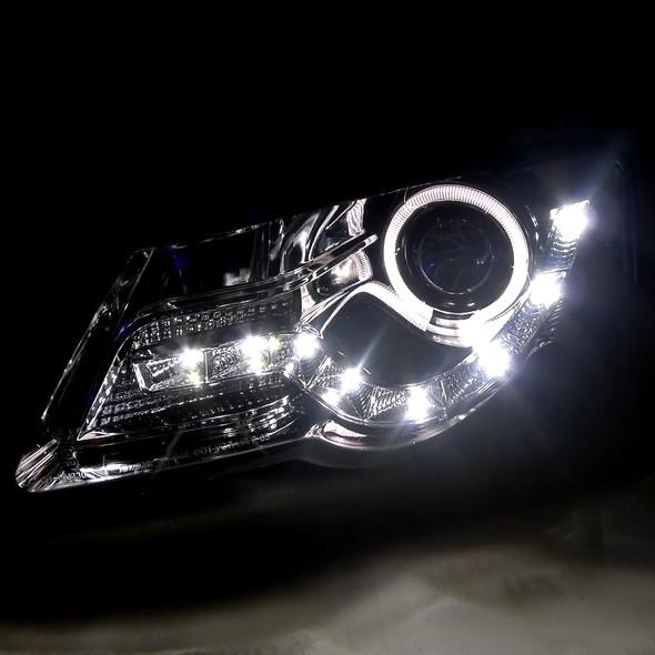 2006-2010 Volkswagen Passat Smoke Lens Halo Projector Headlights w/ LED DRL & H11 Bulbs