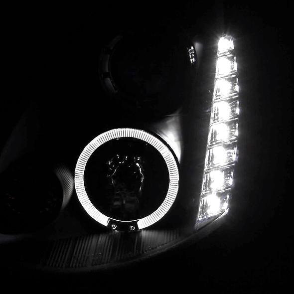 2005-2006 Infiniti G35 Single Halo SMD LED Projector Headlights (Matte Black Housing/Clear Lens)