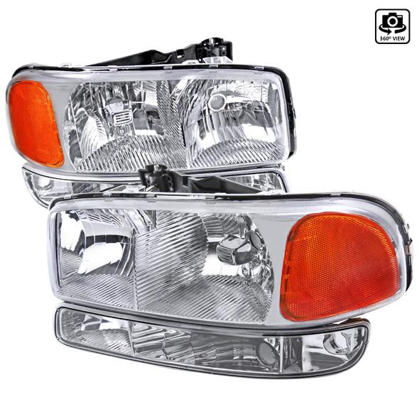 1999-2007 GMC Sierra/Yukon/Yukon XL Factory Style Crystal Headlights w/ Bumper Lights (Chrome Housing/Clear Lens)