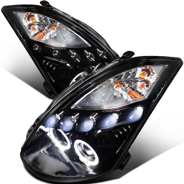 2003-2007 Infiniti G35 Coupe Dual Halo Projector Headlights (Glossy Black Housing/Smoke Lens)