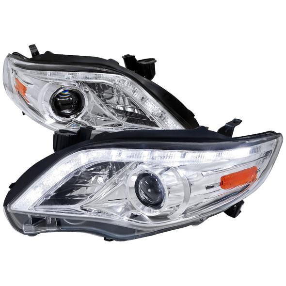 2011-2013 Toyota Corolla LED DRL Projector Headlights w/ H1 Bulbs (Chrome Housing/Clear Lens)