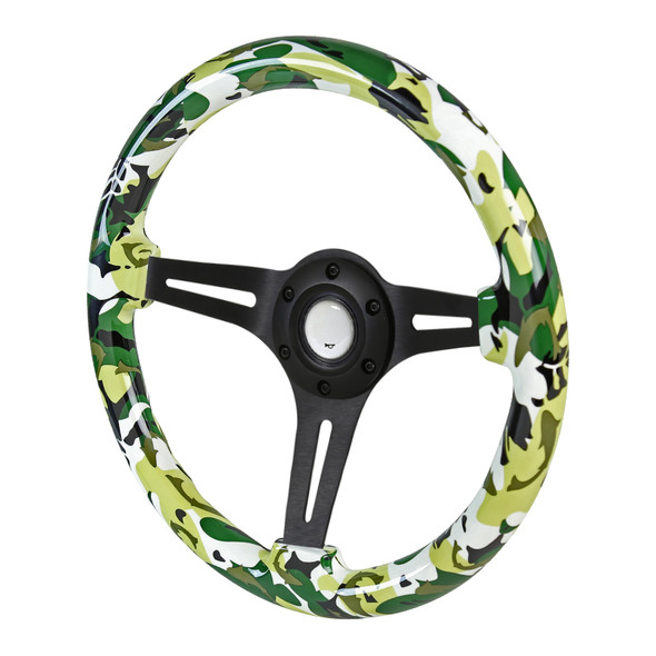 "350mm Green & White Camouflage Style 2"" Deep Dish Aluminum 3-Spoke Wooden Steering Wheel (Black)"