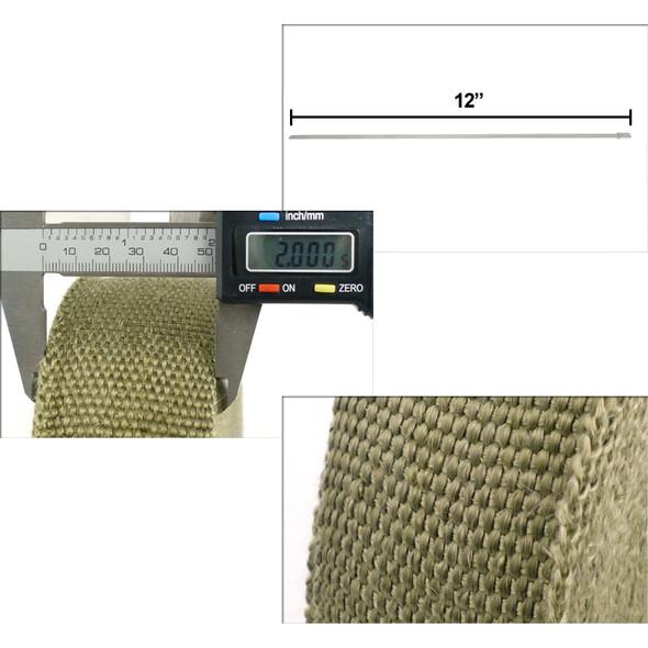 "2"" 50Ft Exhaust Header Fiberglass Heat Wrap Tape+6 Ties Kit (Titanium)"