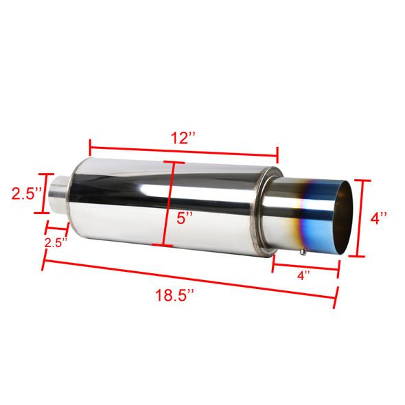 """Apexi N1-Style Hi-Flow Muffler-4"""" Burnt Tip"""
