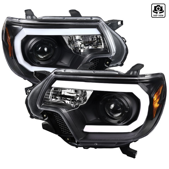 2012-2015 Toyota Tacoma JDM Style Projector Headlights w/ LED DRL Bar & H7 Bulbs (Matte Black Housing/Clear Lens)