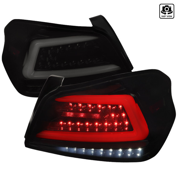 2015-2019 Subaru WRX  Sequential White Neon Tube LED Tail Lights (Glossy Black Housing/Smoke Lens)