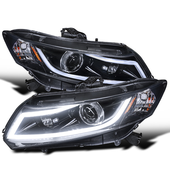 2012-2013 Honda Civic Coupe/ 2012-2015 Civic Sedan LED Bar Projector Headlights (Chrome Housing/Smoke Lens)