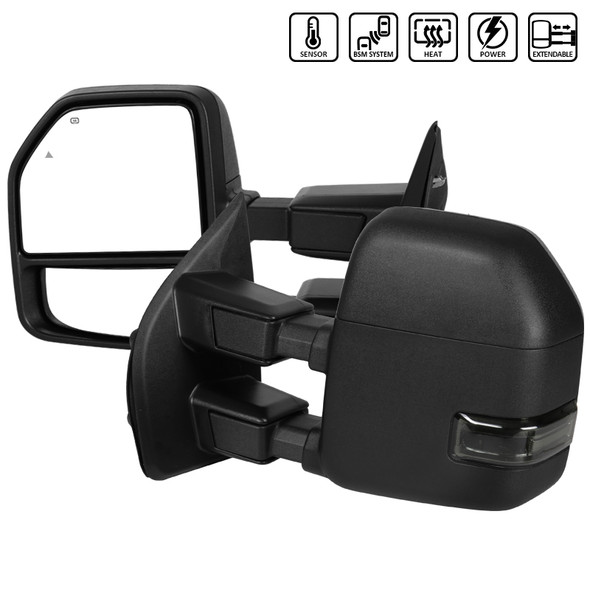 2017-2019 Ford F-250/F-350/F-450/F-550 Super Duty Power Heated Towing Side Mirrors w/ Smoke LED Turn Signal Lights