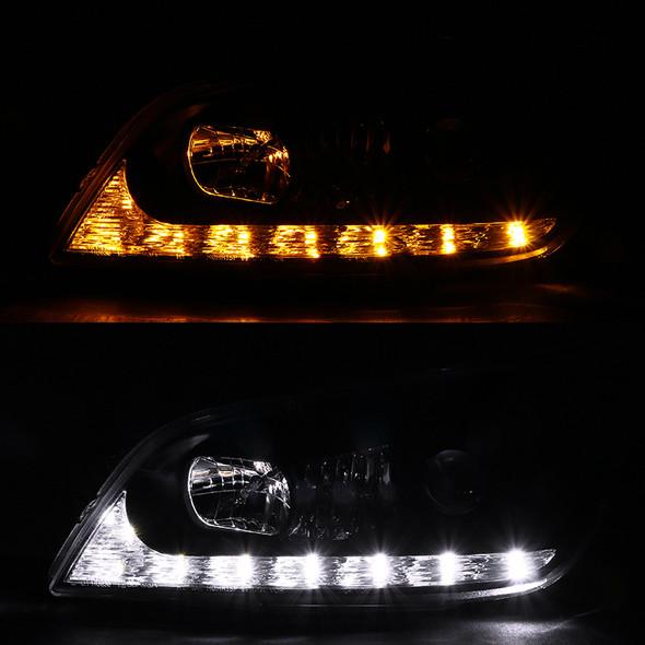 2001-2005 Lexus IS300 Projector Headlights w/ LED Light Strip & LED Turn Signal Lights (Matte Black Housing/Clear Lens)