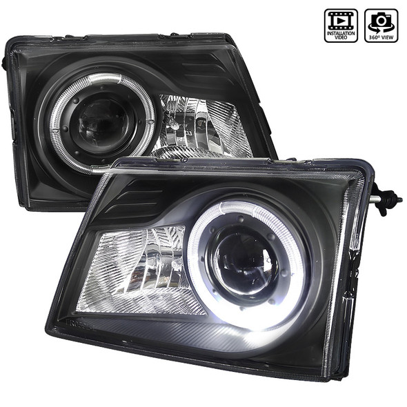 1998-2000 Ford Ranger Single Halo Projector Headlights (Matte Black Housing/Clear Lens)