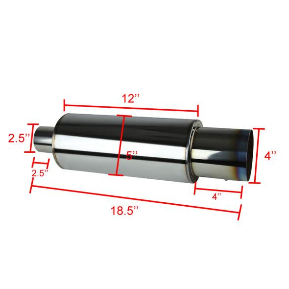 "Apexi N1 Style 2.5"" Inlet Exhaust Muffler - 4"" Burnt Tip"
