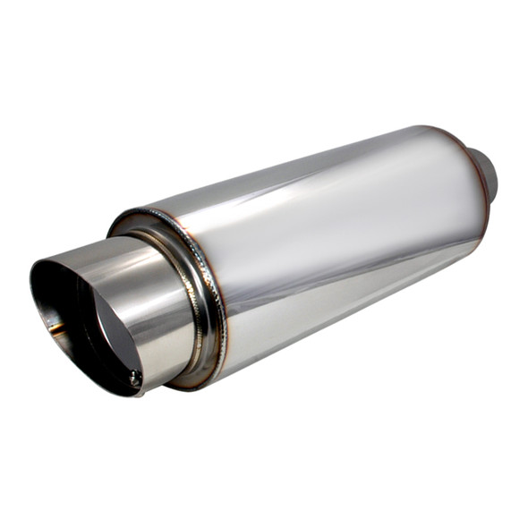 """Universal 2.5"""" Inlet/4"""" Outlet Stainless Steel Muffler w/ Fireball Style Tip"""
