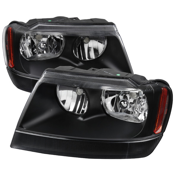 1999-2004 Jeep Grand Cherokee Factory Style Headlights w/ Amber Reflectors (Matte Black Housing/Clear Lens)