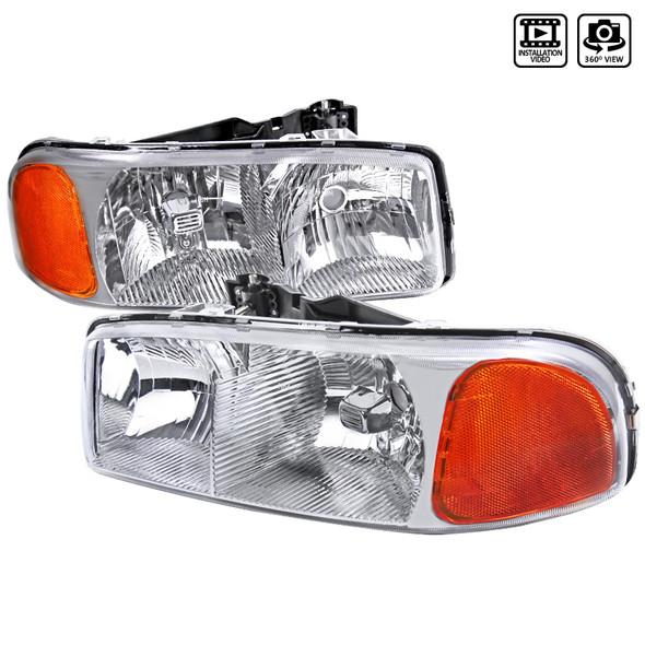 1999-2006 GMC Sierra/Yukonk/Yukon XL Crystal Headlights w/ Amber Reflector (Chrome Housing/Clear Lens)