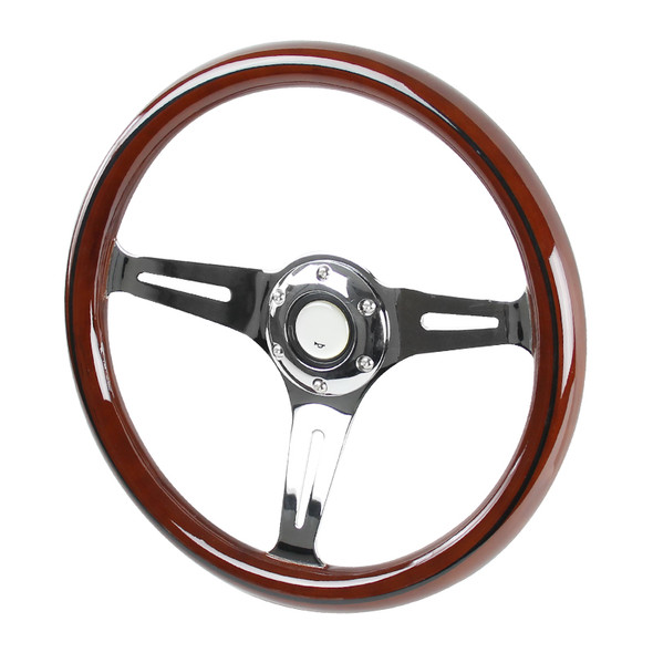 "340mm 3-Spoke 1.75"" Deep Dish Classic Wooden Style Steering Wheel"
