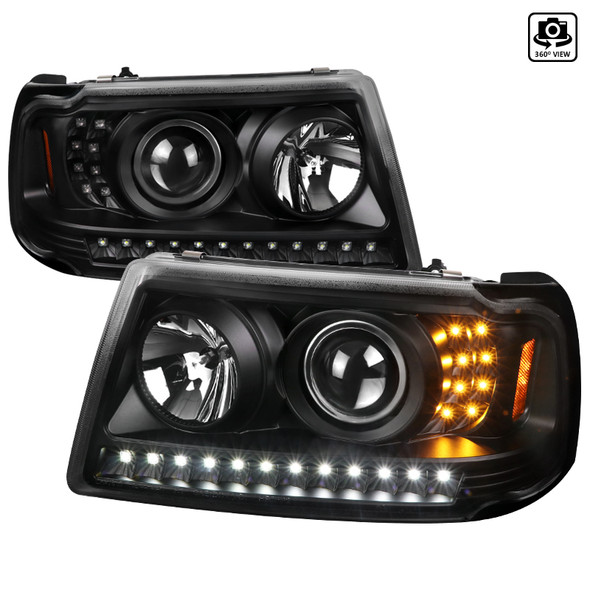 2001-2011 Ford Ranger LED Halo Projector Headlights (Matte Black Housing/Clear Lens)