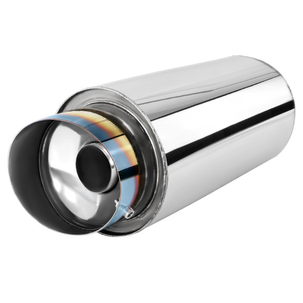"Universal 2.5"" Inlet/4"" Outlet Stainless Steel Spiral Flow Exhaust Muffler w/ Slanted Burnt Tip"