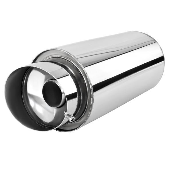 "Universal 4"" Slant Tip 3"" Inlet Stainless Steel Spiral Flow Exhaust Muffler w/ Silencer"