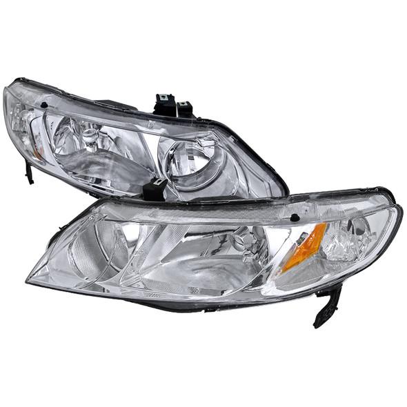 2006-2011 Honda Civic Sedan Crystal Headlights (Chrome Housing/Clear Lens)