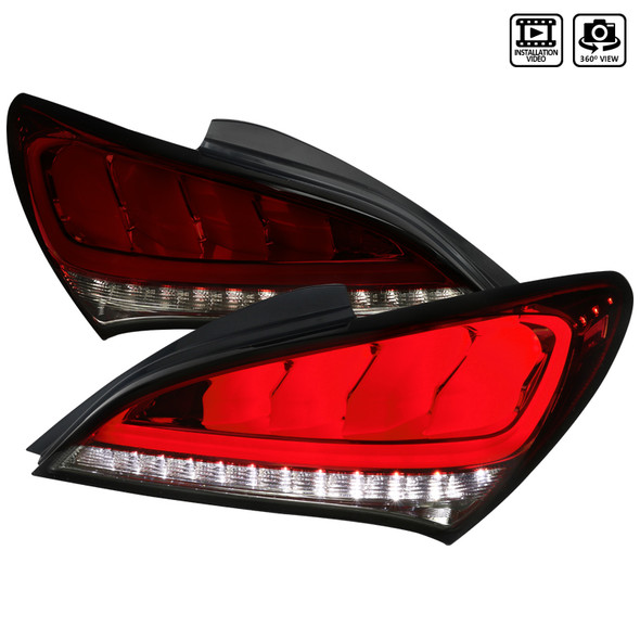 2010-2016 Hyundai Genesis Coupe White Bar Sequential LED Tail Lights (Chrome Housing/Red Smoke Lens)
