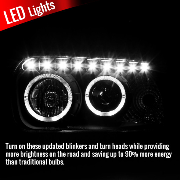 2005-2007 Ford Escape Dual Halo LED Projector Headlights (Matte Black Housing/Clear Lens)