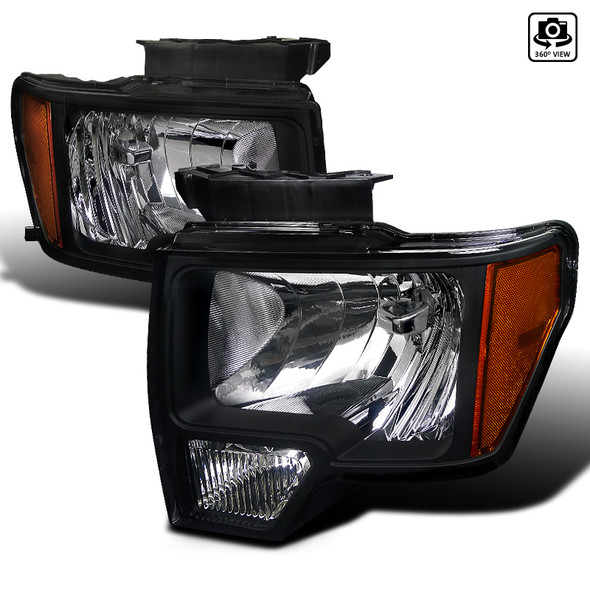 2009-2014 Ford F-150 JDM Style Headlights (Matte Black Housing/Clear Lens)