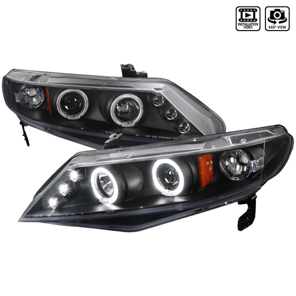 2006-2011 Honda Civic Sedan Dual Halo LED Projector Headlights (Matte Black Housing/Clear Lens)