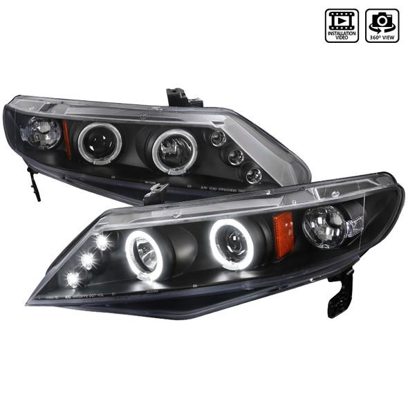 2006-2011 Honda Civic Sedan Dual Halo Projector Headlights (Matte Black Housing/Clear Lens)