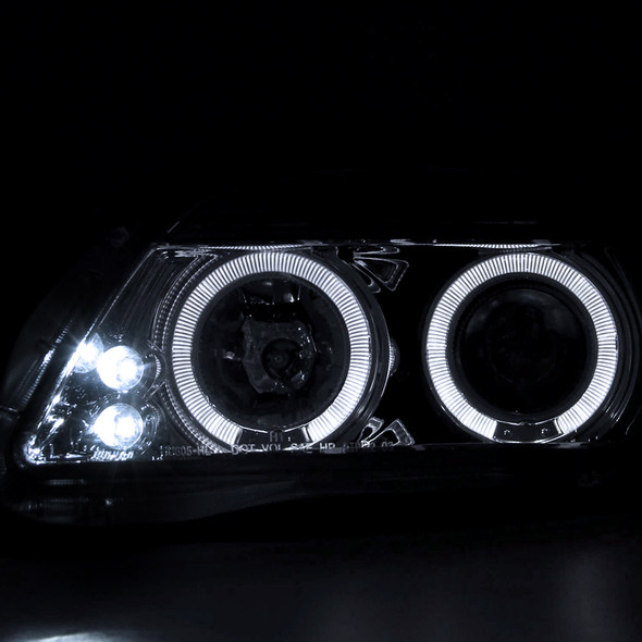 2005-2010 Scion tC Dual Halo LED Projector Headlights w/ Amber Reflectors (Chrome Housing/Clear Lens)
