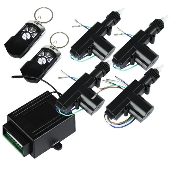Universal Remote Keyless Power Door Lock/Unlock Entry Kit w/ 4-Function Remote Controls