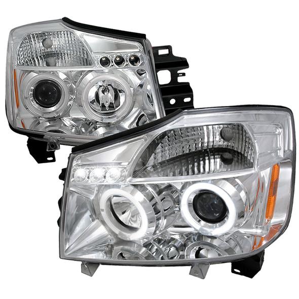 2004-2015 Nissan Titan/Armada Dual Halo LED Projector Headlights (Chrome Housing/Clear Lens)