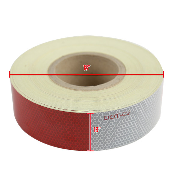 "2""x164' Red White Approved DOT-C2 Reflective Conspicuity Trailer Tape Safety"