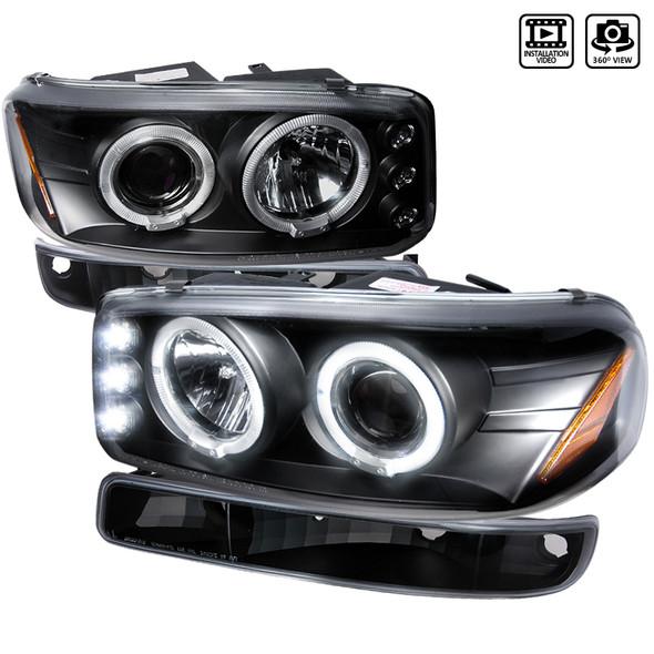 1999-2006 GMC Sierra/Yukon XL/SLT Dual Halo Projector Headlights & Bumper Lights (Matte Black Housing/Clear Lens)