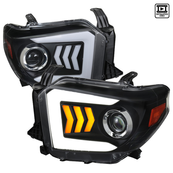 2014-2021 Toyota Tundra LED C-Bar Projector Headlights w/ Sequential Arrow Turn Signals (Matte Black/Clear Lens)