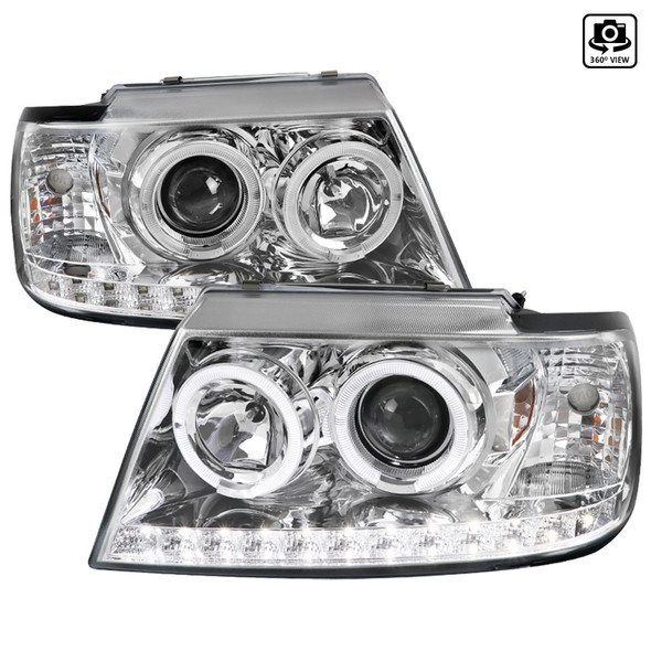 2002-2005 Ford Explorer LED DRL Dual Halo Projector Headlights (Chrome Housing/Clear Lens)