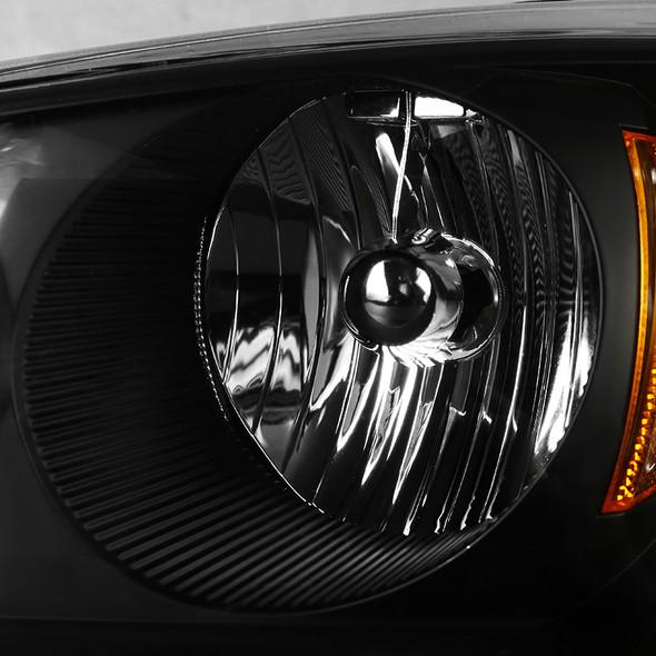 2004-2007 Chevrolet Malibu Factory Style Headlights w/ Amber Reflectors (Matte Black Housing/Clear Lens)
