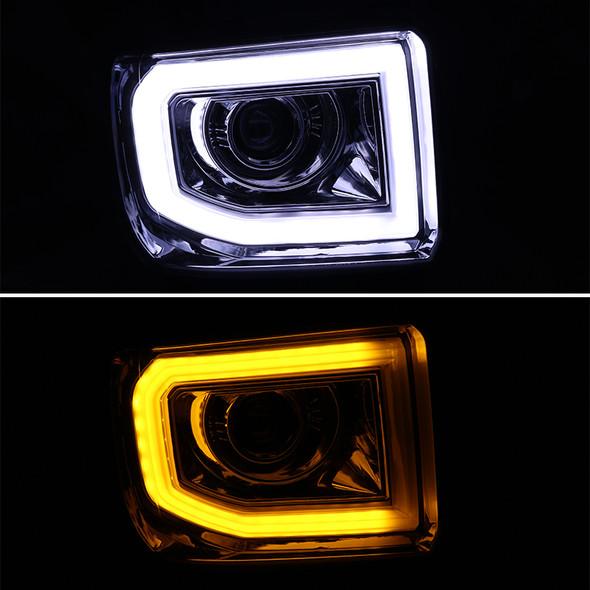 2014-2015 GMC Sierra 1500 15-16 2500HD 3500HD LED DRL Bar Projector Headlight (Matte Black Housing/Clear Lens)